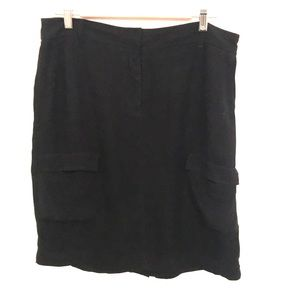 Eileen Fisher Black 100% silk skirt